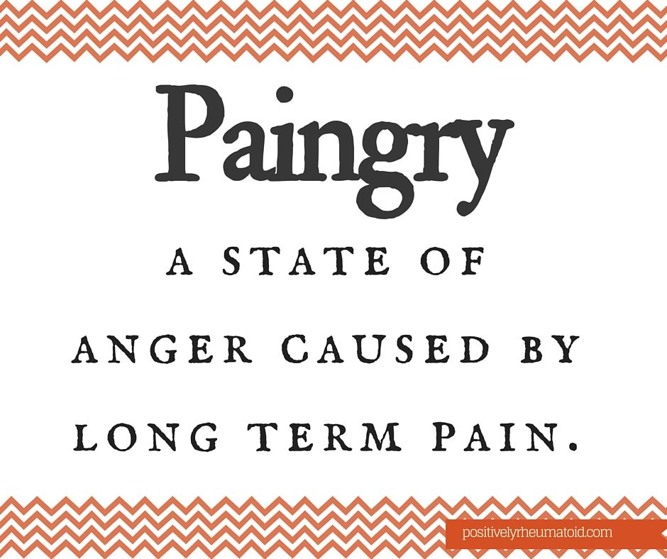 Paingry. A state of anger caused by long term pain