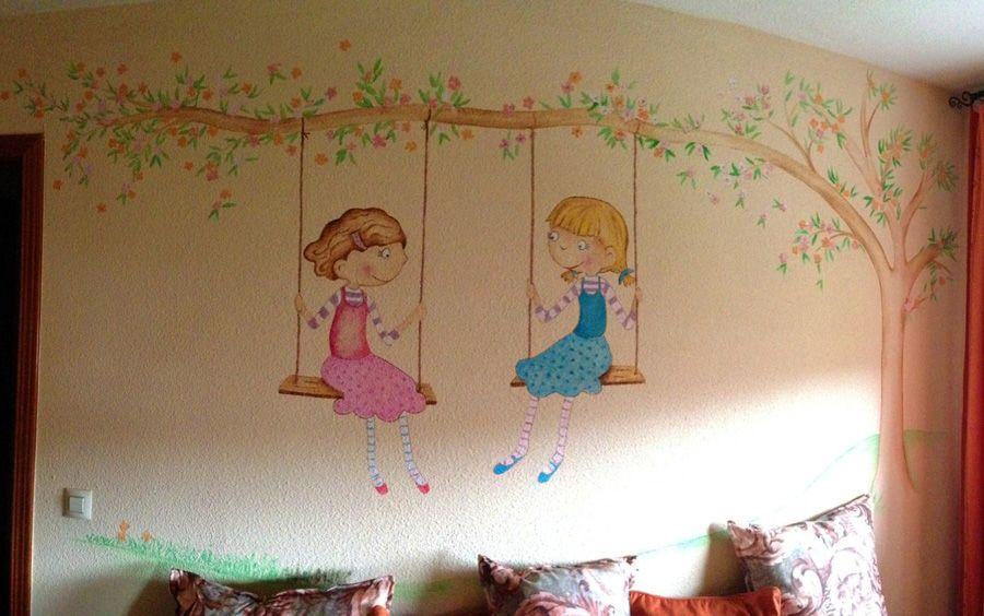 Mural pintado de ni as en columpio idecoracion de hogar - Murales para ninas ...