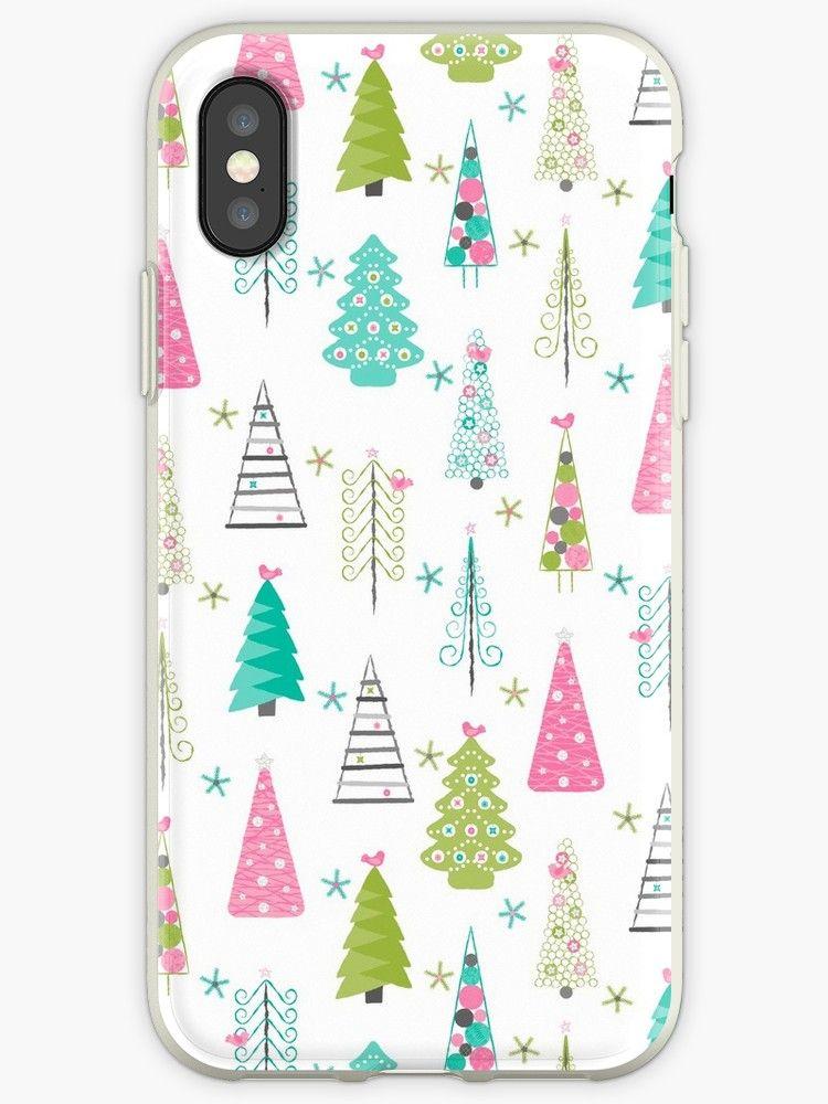 Swedish Minimalist Christmas Trees Pattern Modern Pink And Blue Iphone Case Cover Minimalist Christmas Scandinavian Christmas Trees Minimalist Christmas Tree