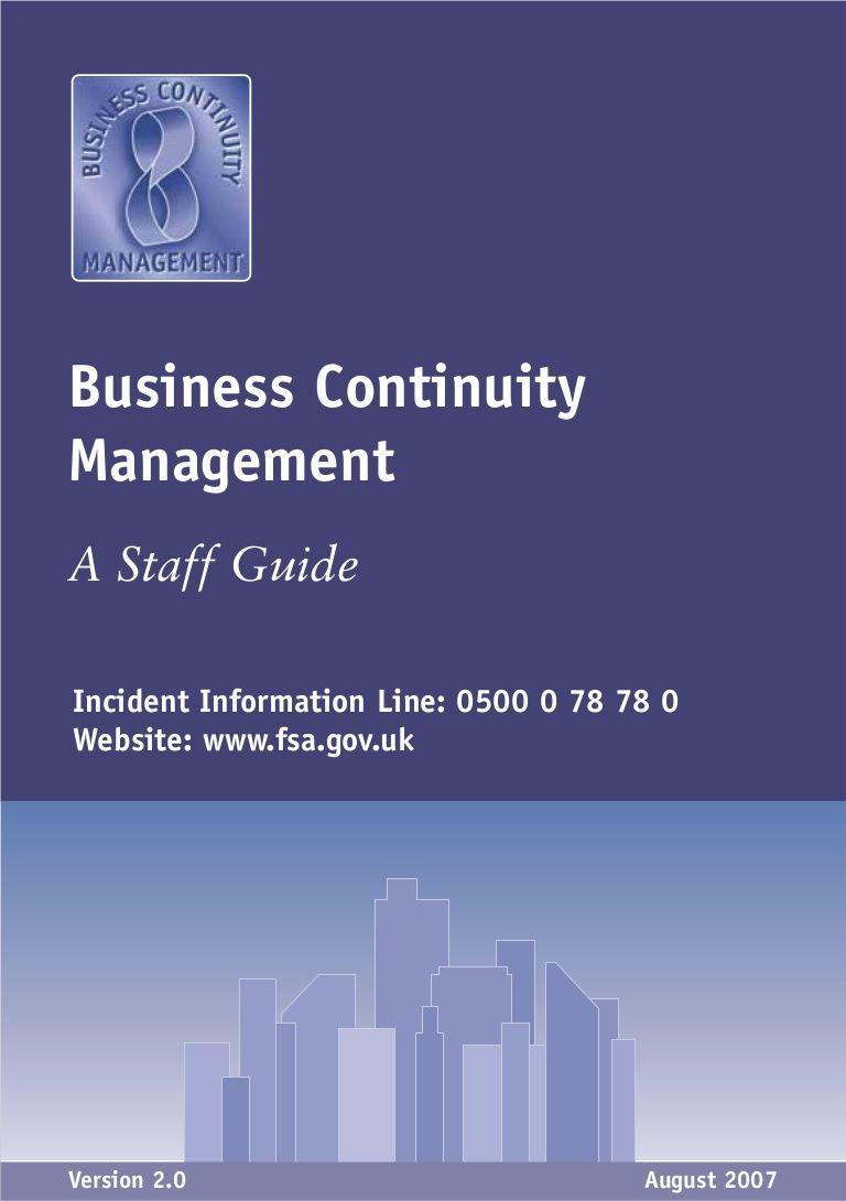 Staff Guide for BCM Risk management, Management
