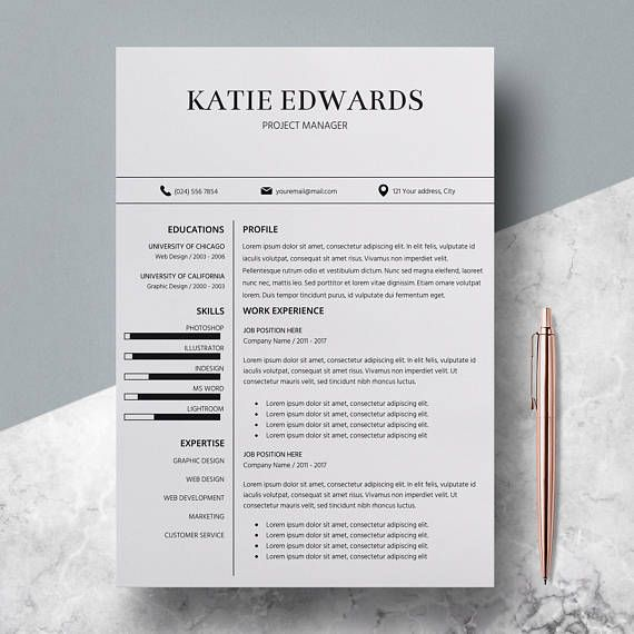 Teacher Resume Template CV Template for MS Word Professional - download word resume template