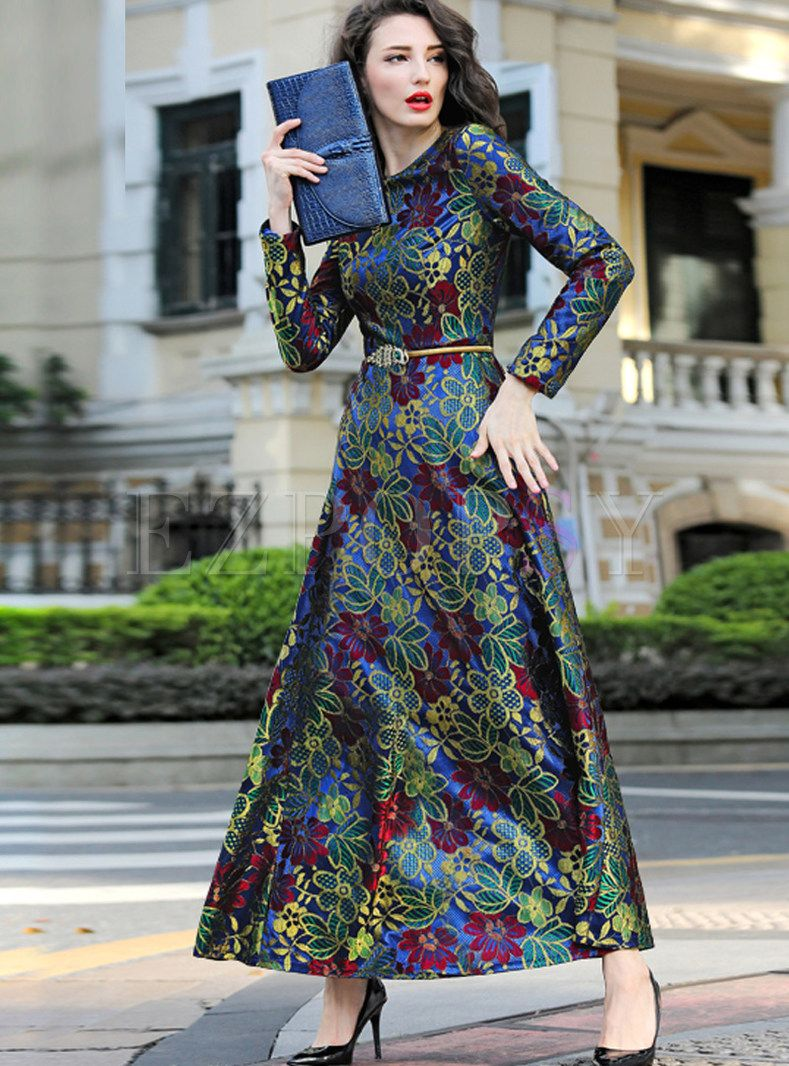 Vintage Lace Woolen Waist Dress Floral Dress Casual Vintage Maxi Dress Womens Floral Dress [ 1066 x 789 Pixel ]