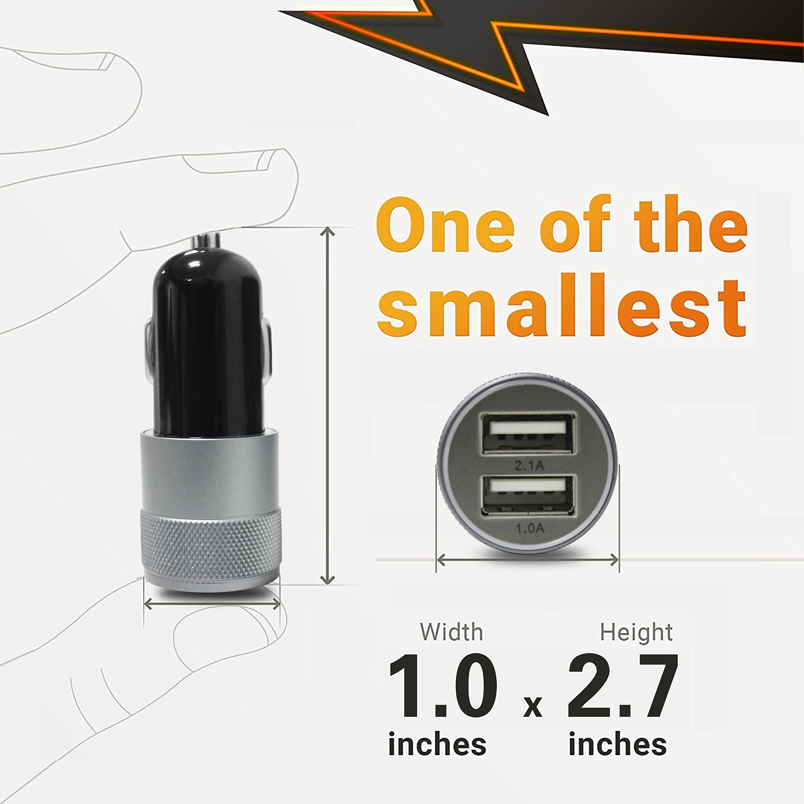 Car Charger 7 Aonear 3.1A Rapid Dual Port Fast USB Car Charger with 6-feet Charging Cable Compatible iPhone X 6s 6s Plus 5S 5 5C SE,Pad and More 8//8 Plus