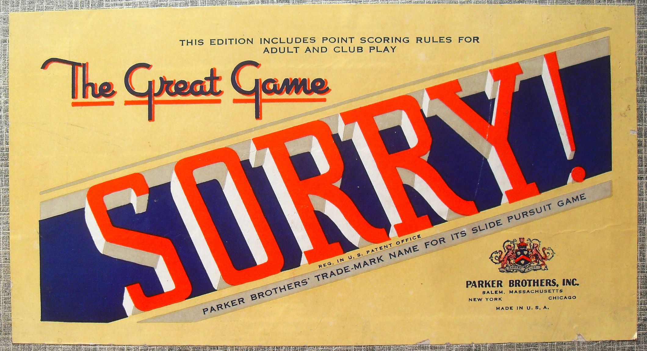 Parker Brothers 1950 Sorry The Great Game Just My Type Vintage