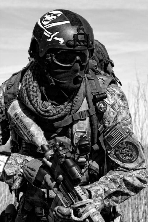usmc force recon operator notice the jolly roger on his helmet