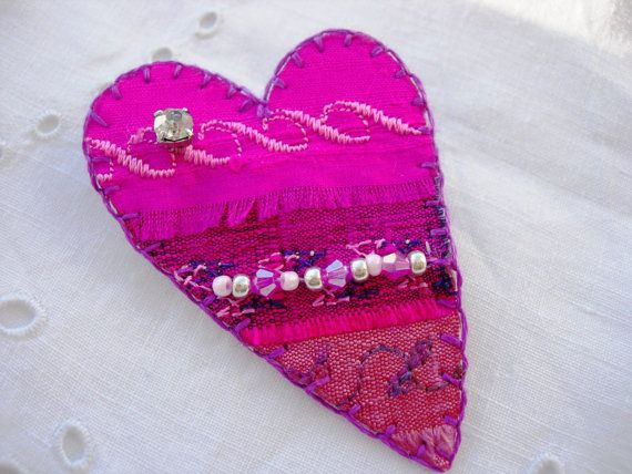 Passionate Pink Silk Embroidered Heart Brooch