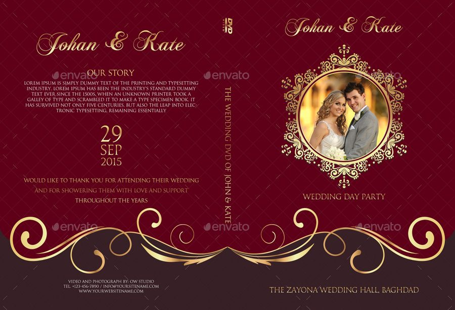 Wedding Dvd Cover And Label Template Vol 9