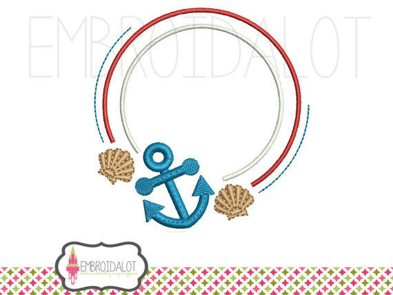nautical monogram frame embroidery beach embroidery design - Nautical Frames