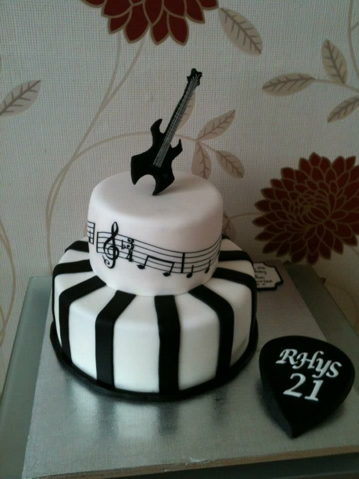 Edible Guitar For A 21st Birthday Cake Designed By The Boy