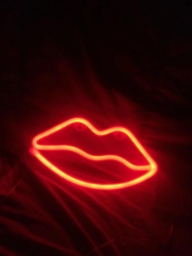 Product Solution Red Lips Christmas Tree Neon Night Light Lamp Strip Battery Usb Operated Red Aesthetic Red Wallpaper Neon Aesthetic