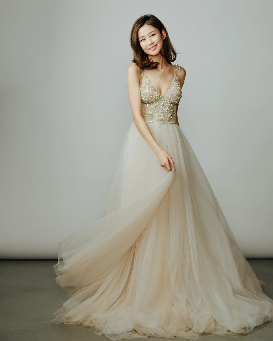 9785ef0cb Hong Kong celebrity Eliza Sam in a Galia Lahav wedding gown from the bridal  label's GALA collection // Off-white wedding dress with bejewelled bodice  and ...