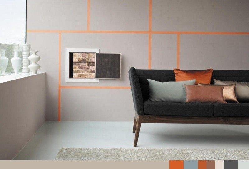 Wohnzimmer in neutralen Farben, orange Wandstreifen und Sandfarbe ...