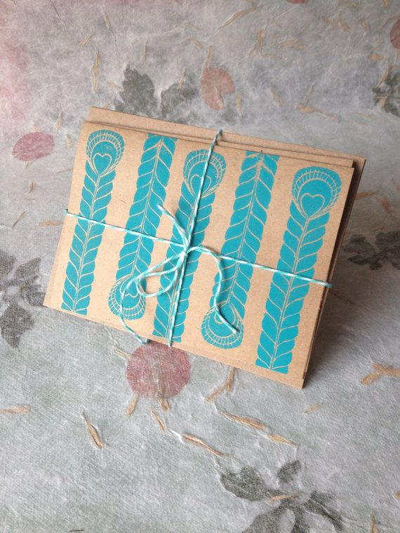 Turquoise Patterned Notecards (Arrows, Peacock Feathers, Floral Deisgn set of 3) by NicolaMacNeil, $12.00