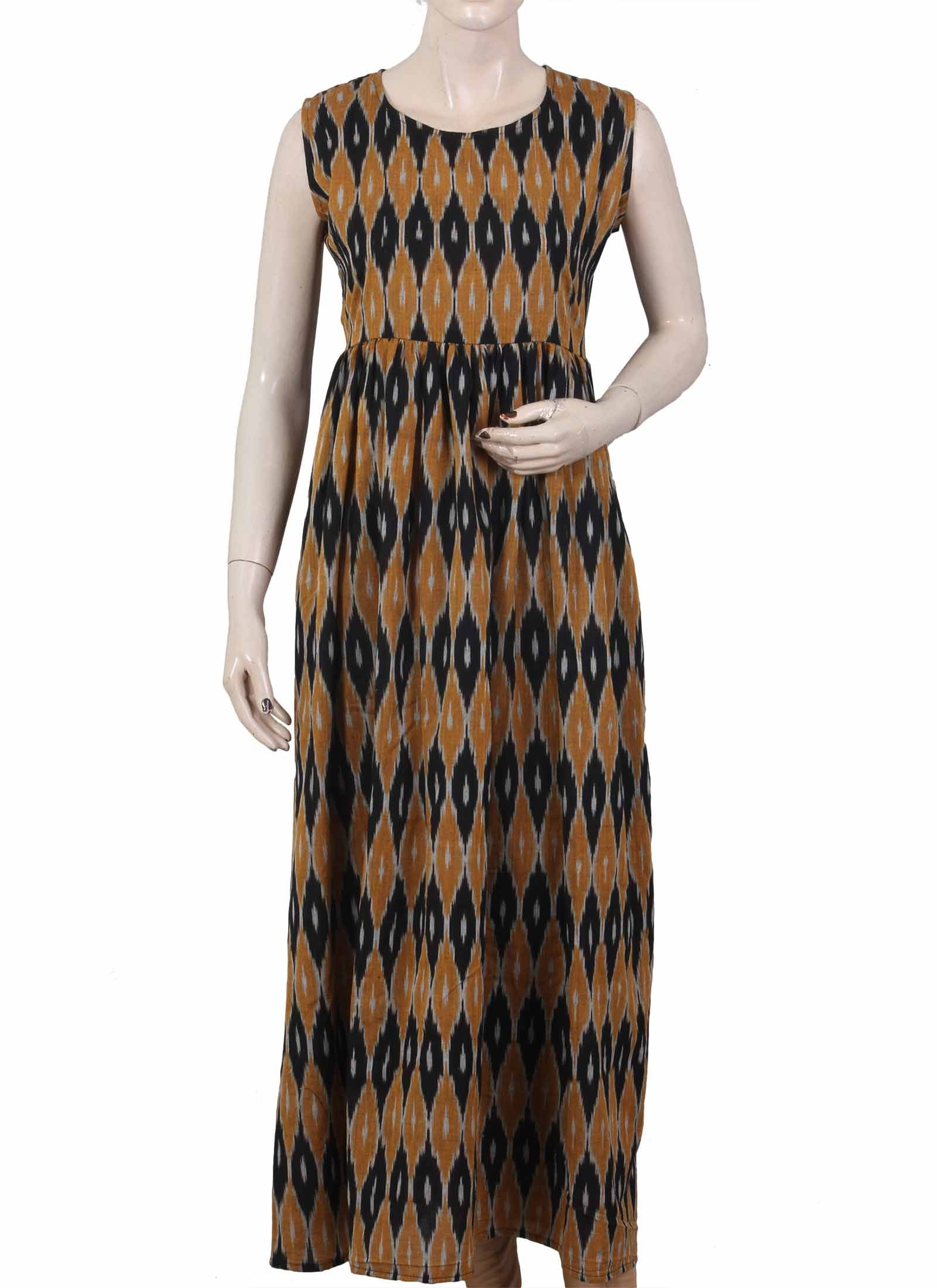 Yellow and black combination long ikat dress kalamkari dresses