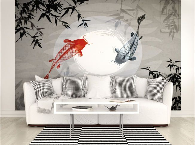 Large Japanese Fish Photo Wallpaper Wall Mural for Living Room Wall