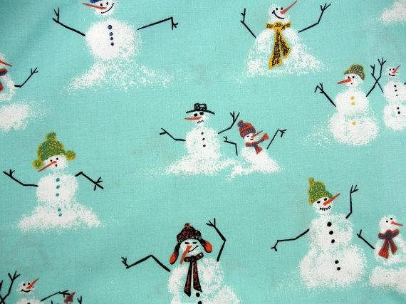 SnowMan Fabric 2 Yds Christmas DIY Christmas Fabric Winter