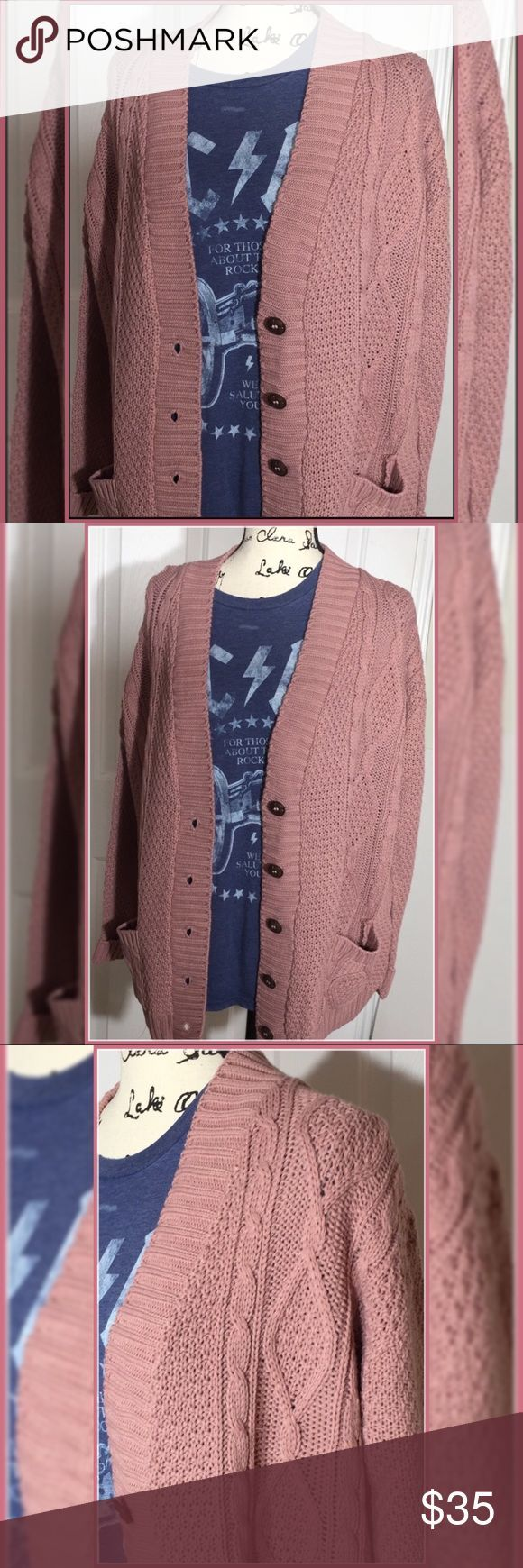 "NEW #Cardigans #Rose #Boyfriend #Button #Up #Sweater #M/L #NEW! #A #great #staple #for #layering #and #keeping #in #fashion #through #out #season. #Rose #is #the #color #of #this #listing. #Available #in #cream #and #stone #in #my #closet, #same #style. #M/L #measures #shoulders #21"", #Sleeves #23"", #Length #28"", #Bust #23"" #cuffed #sleeves #pockets #Button #Up! # #Nail #new #season #knitwear #..."