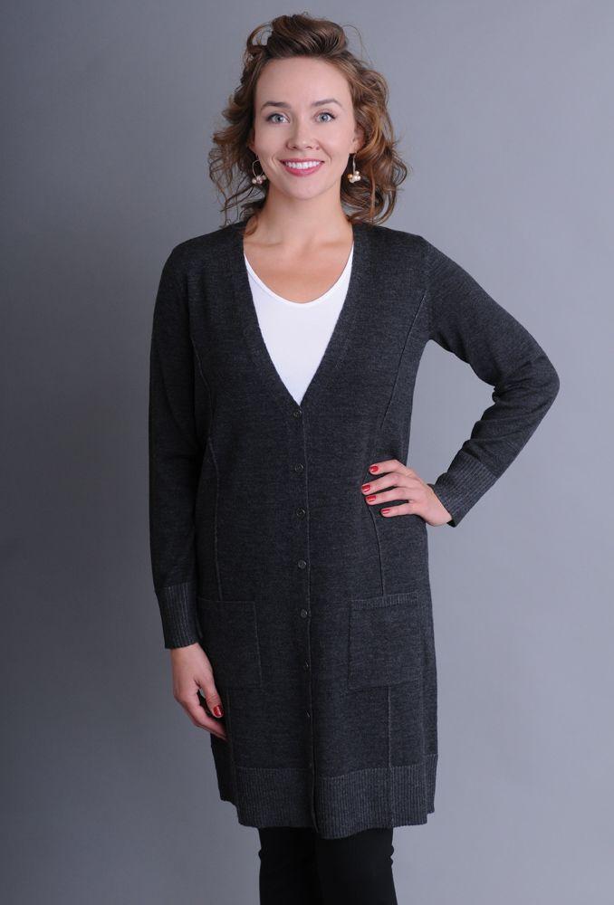 Eileen Fisher V-Neck Knee Length Cardigan in Fine Merino Plaited Jersey