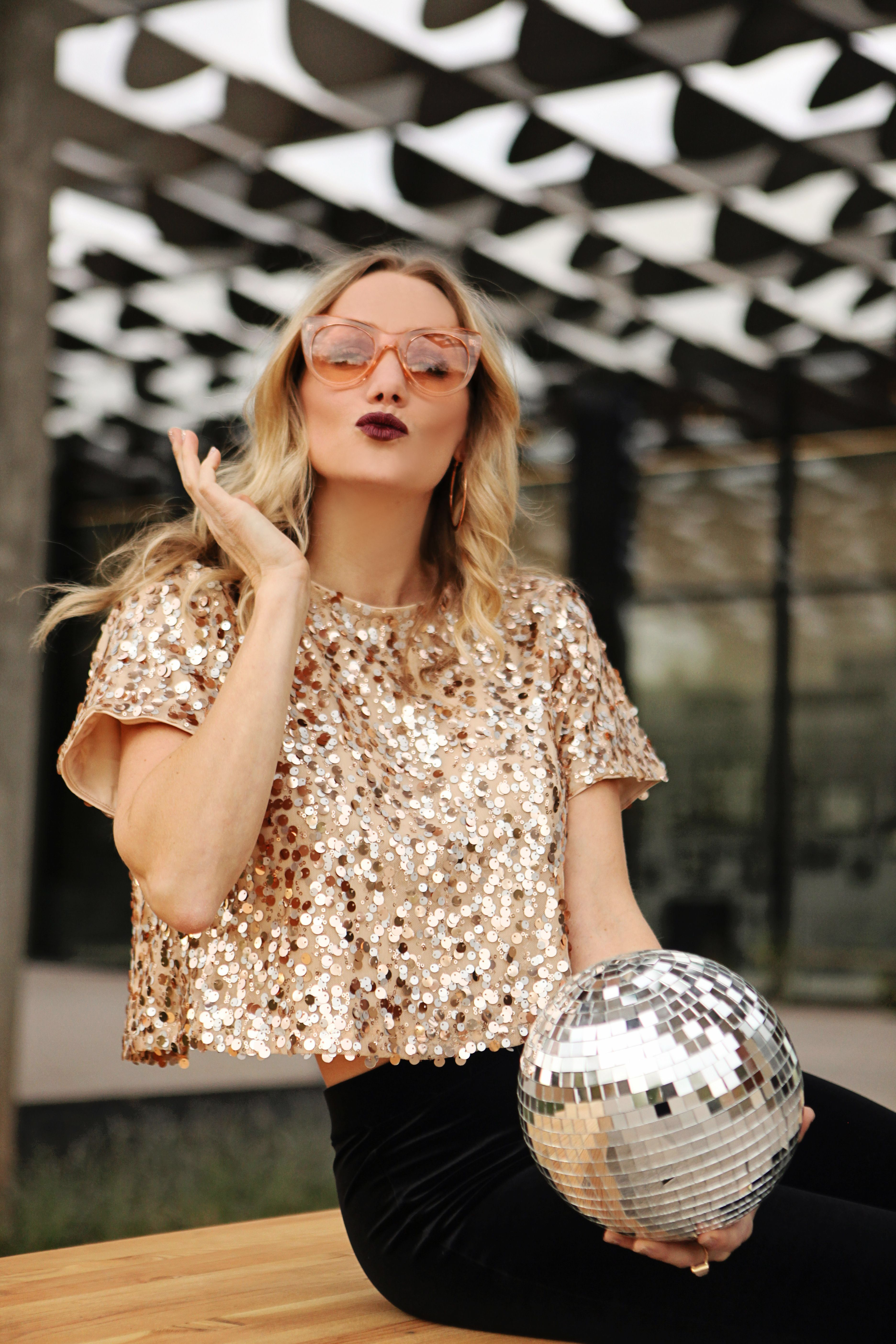 d2799a3797 Rose gold sequin crop top New Year s Eve outfit