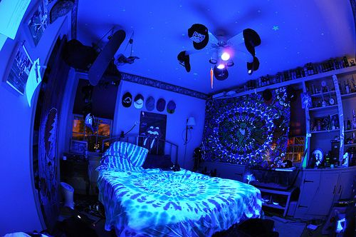 room dark bedroom neon light glow blacklight bedrooms lights uv teen cool trippy dream rooms decor led stuff lit blacklights