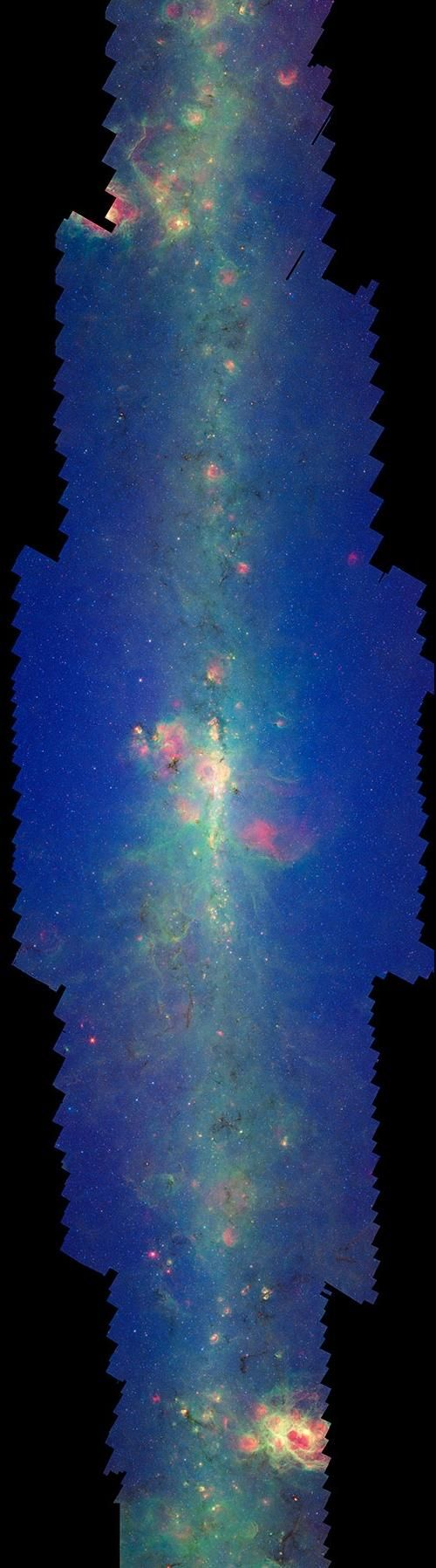 The Spitzer Space Telescope's encompasing infrared view of the plane of our Milky Way Galaxy