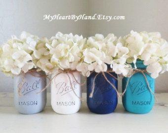 Teal and Cream Distressed Mason Jars Wedding by MyHeartByHand