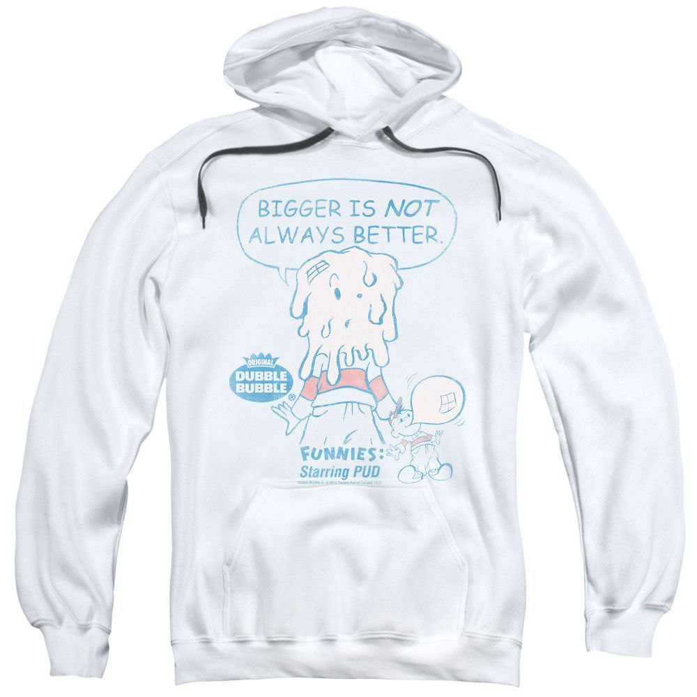 DUBBLE BUBBLE/BIGGER-ADULT PULL-OVER HOODIE-WHITE