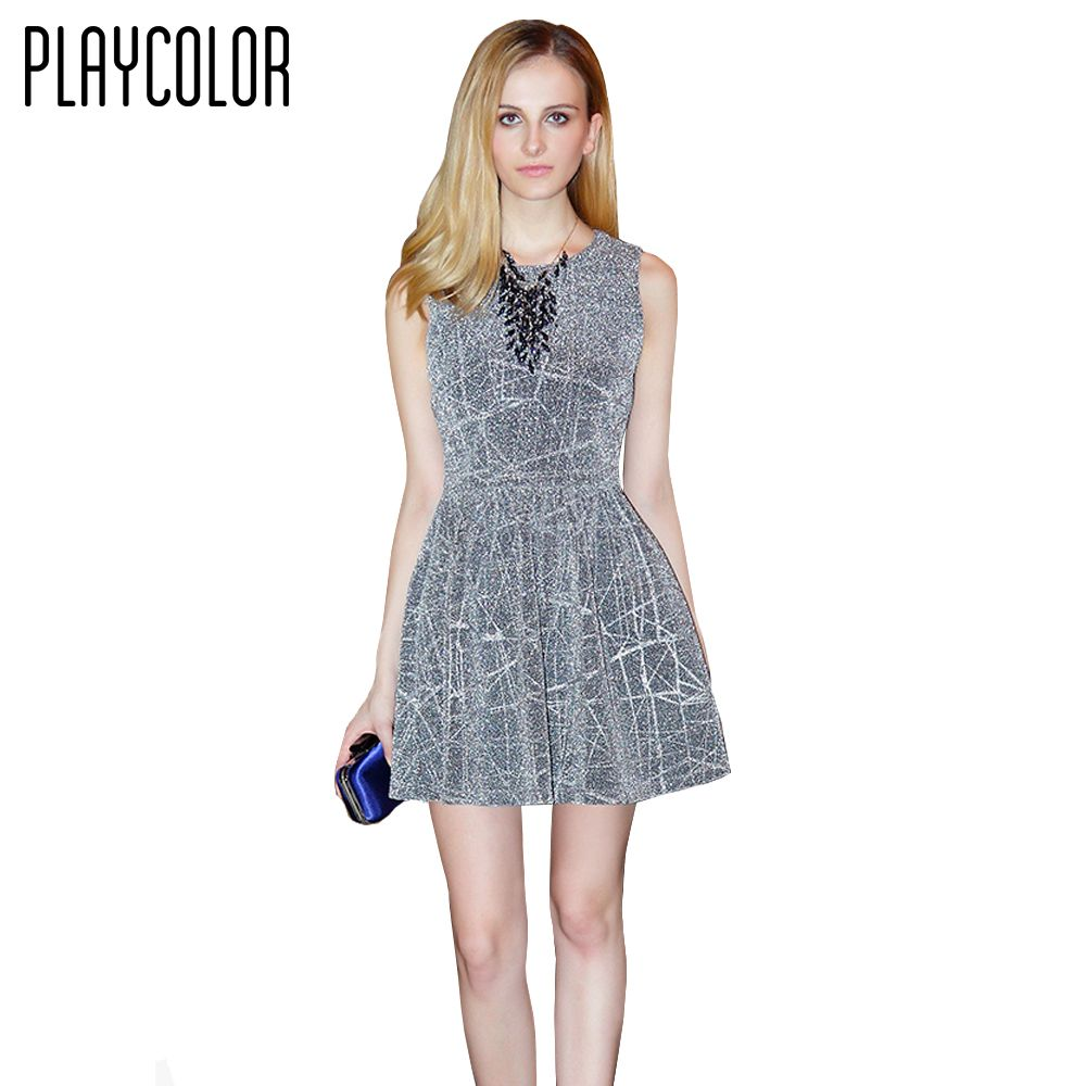 Playcolor glitter evening dress short high quality elegant evening