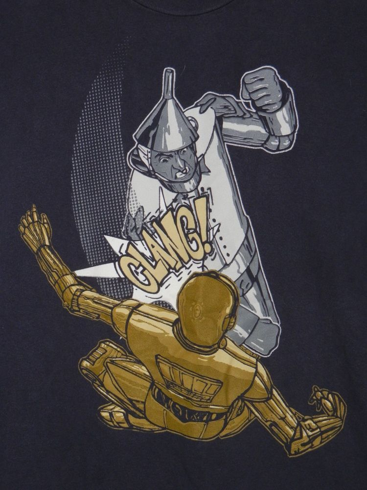shirt woot tinman vs c3po graphic tee shirt xl navy blue wizard of