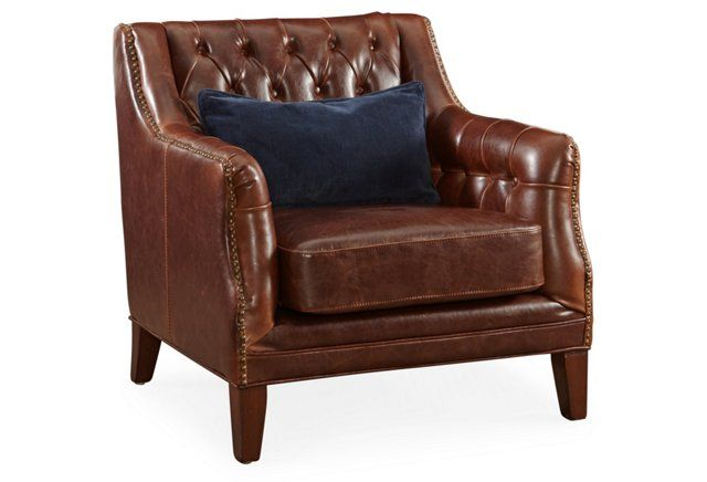 London Tufted Leather Club Chair Brown Club Chairs