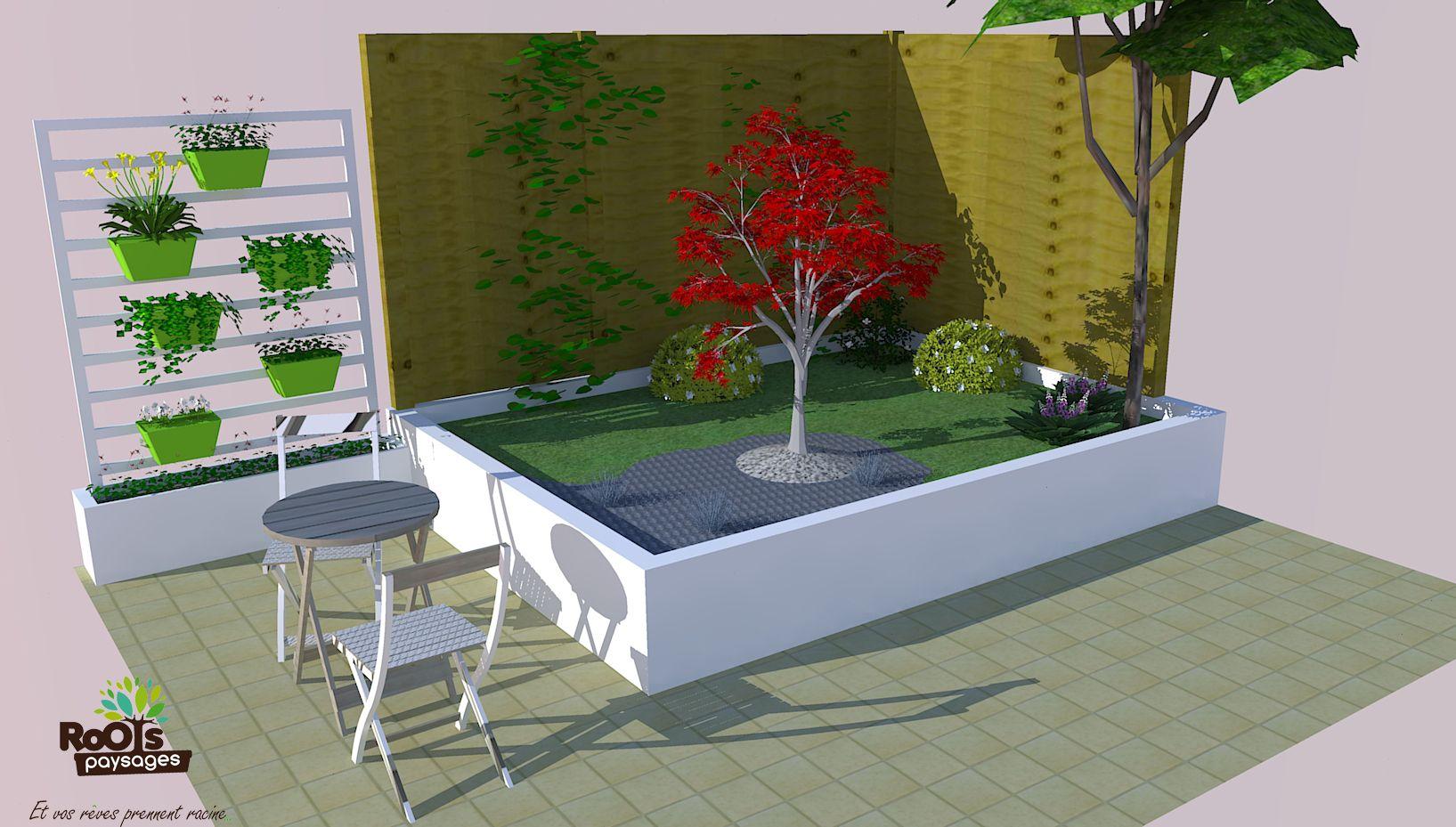Bureau D Étude Paysage aménagement d'un petit jardin avec helxine et pétales d