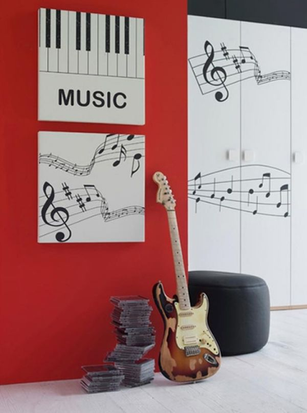 Wonderful Music Themed Decorating Ideas Part - 4: Minimalist Bedroom Design With Music Themed Ideas 20 Inspiring Music Themed  Bedroom Ideas