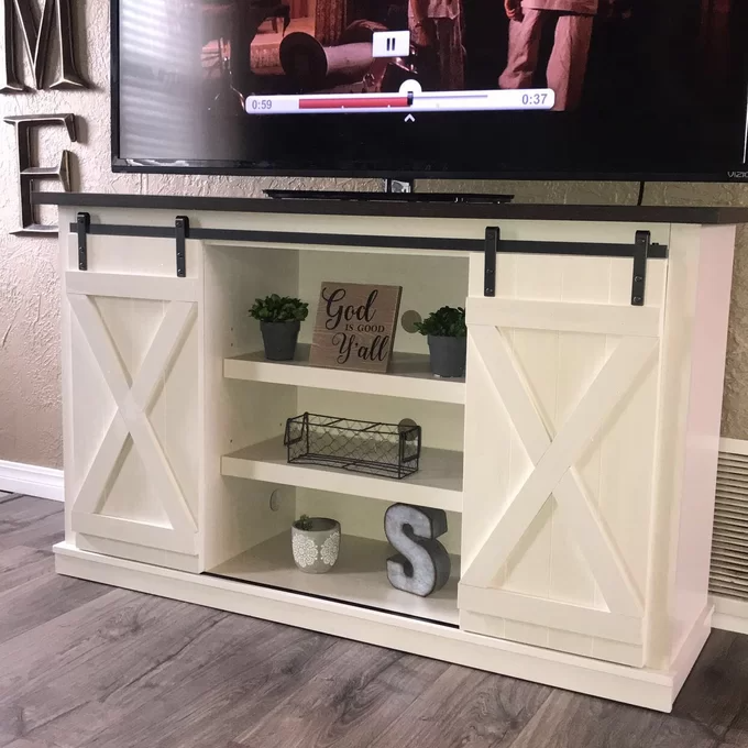 Lorraine Tv Stand For Tvs Up To 60 In 2020 Tv Stand Decor Tv Stand Farmhouse Tv Console