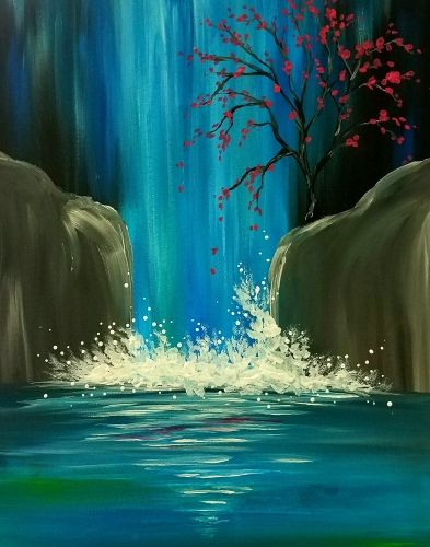 Image Result For Paint Night Ideas Waterfall Paintings Night Painting Painting Dubai Khalifa