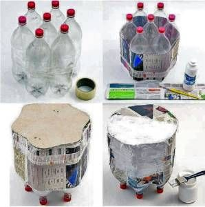 mesa con botellas  Reciclado  Pinterest  Upcycling and ...