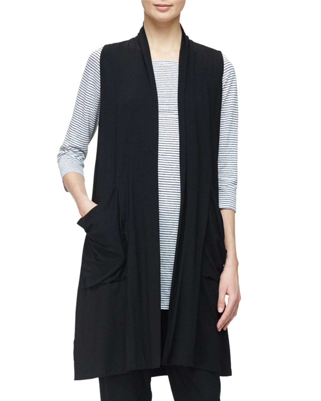 Sleeveless Lightweight Long Vest, Black, Plus Size, Women's, Size ...