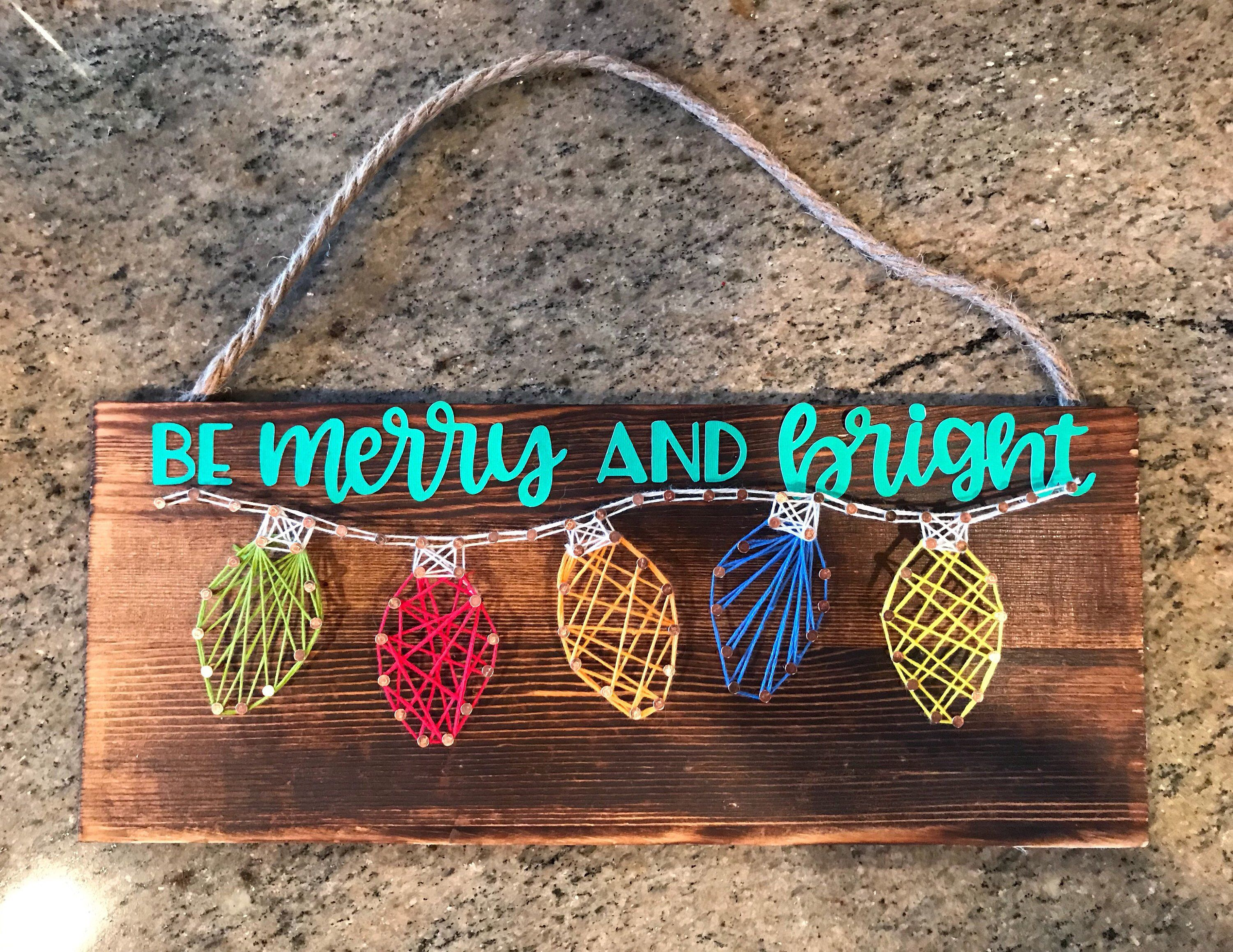 String Art Kit * Christmas Light String Art * Holiday Craft Kit * be Merry and Bright * Perfect Gift for Teens Adults #stringart
