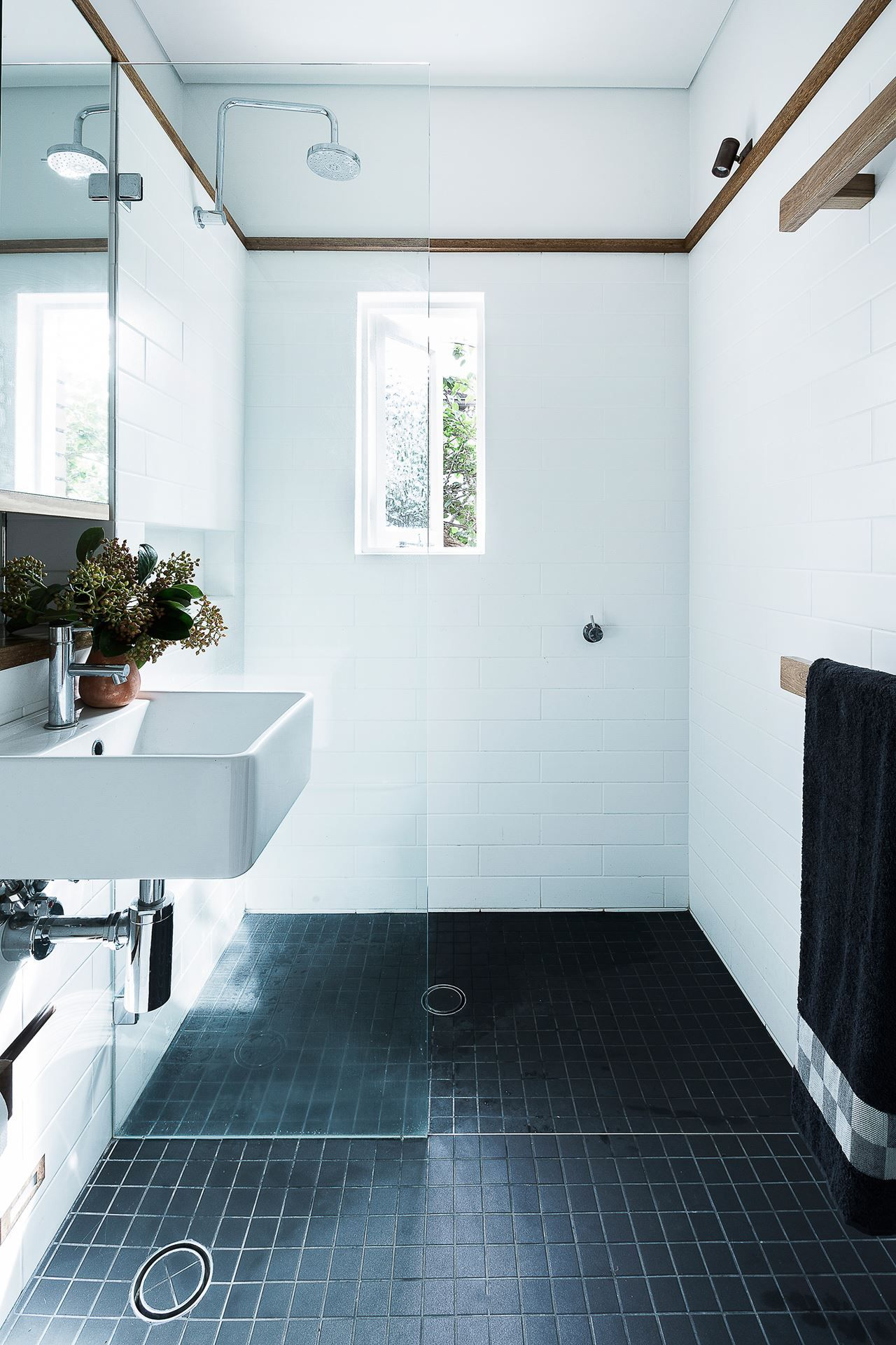 Small Bathroom with Timber Picture Rail White Subway Wall Tiles
