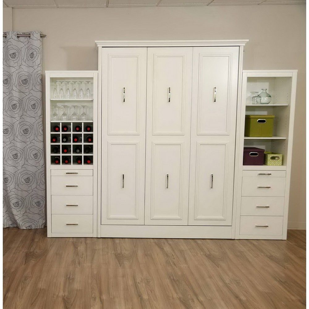 Gabriella Queen Murphy Bed with Storage/Wine Cabinet in White by ...