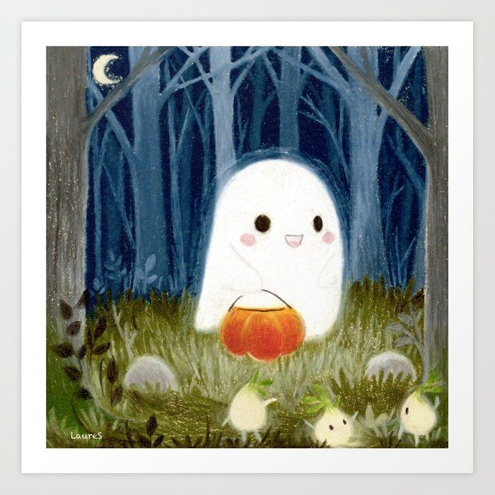 A Cute Ghost With A Pumpkin #nurseryart #nurserydecor