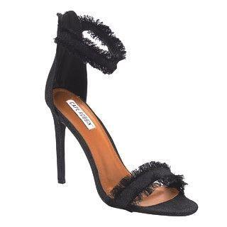 Black Distressed Denim Sandal