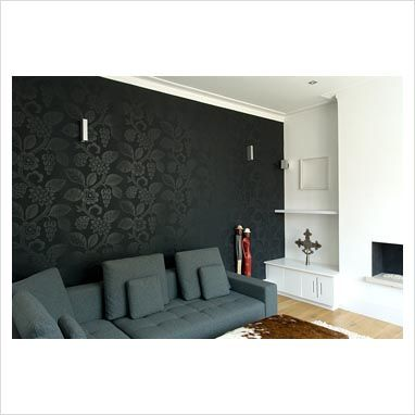 Captivating Black Wall Paper Feature Wall Where Fireplace Is Part 13