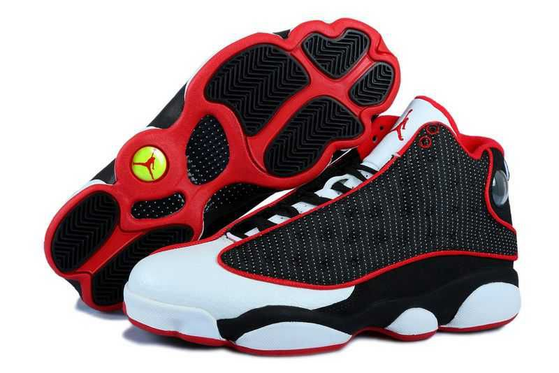 on sale c812c 307c3 Nike Air Jordan 13 Mens Grain Leather Black White Red Shoes ...