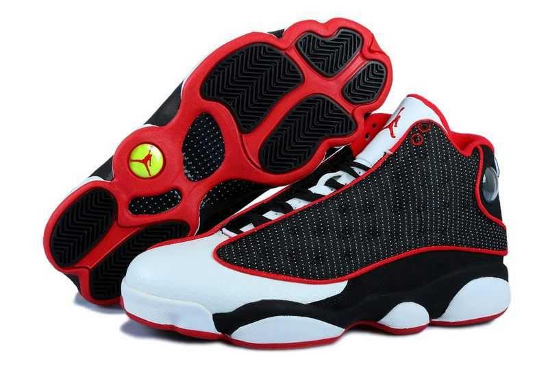 Nike Air Jordan 13 Mens Grain Leather Black White Red Shoes Air