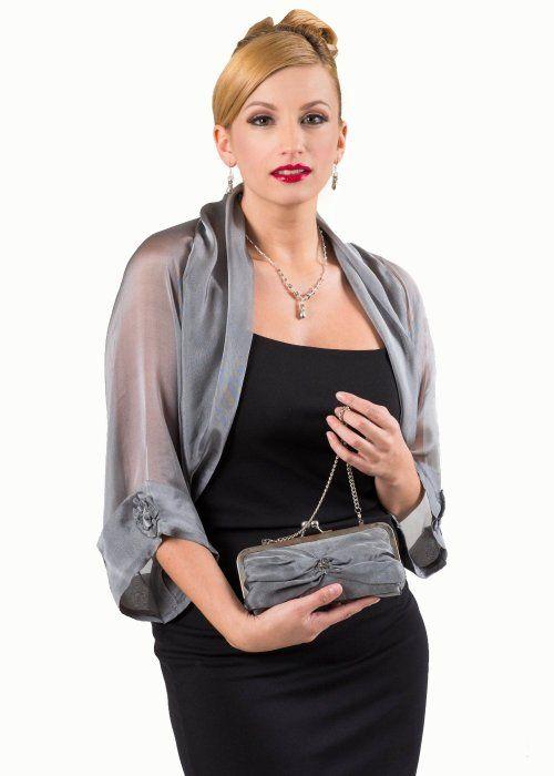 cf62e0ec482 Silver Grey Silk Chiffon Bolero Jacket for Evening Dress (M-L ...