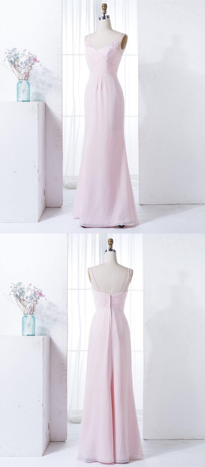 Simple pearl pink chiffon long bridesmaid dresses cheap wedding