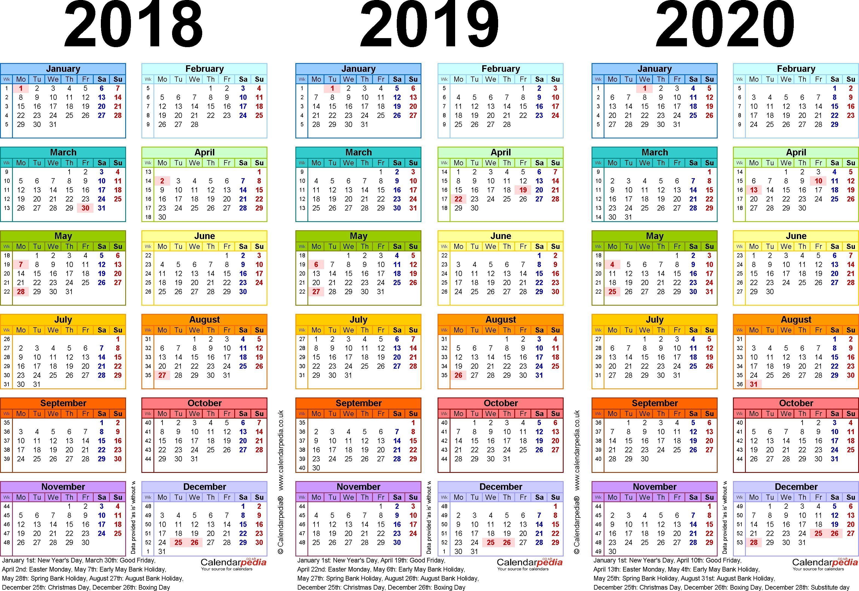 3 Year Calendar Pdf Di 2020