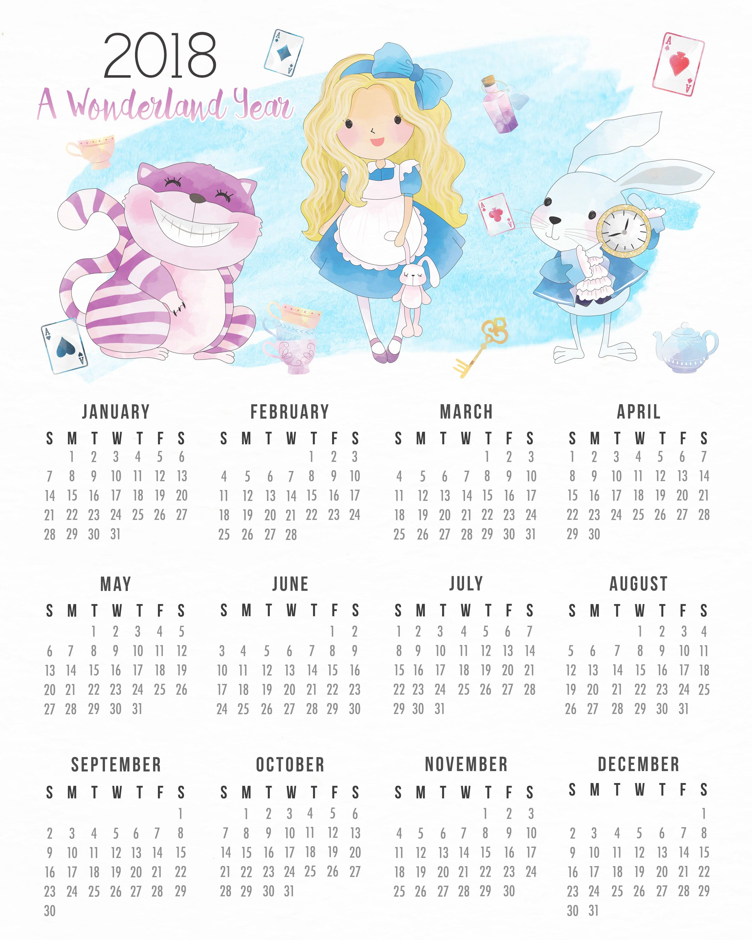 Free Printable Alice In Wonderland Calendar