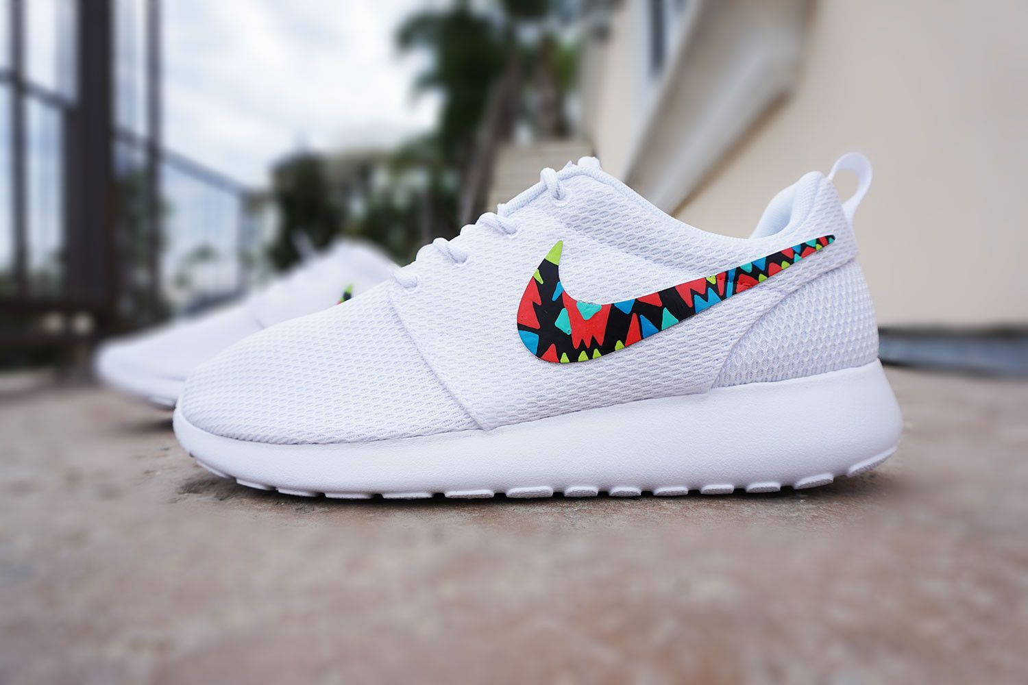 hot sale online 1bffe 805f0 Womens custom Nike Roshe run, Tribal design, White with color, cute design, womens  custom sneakers, red, blue, teal, lime, kiwi, yellow