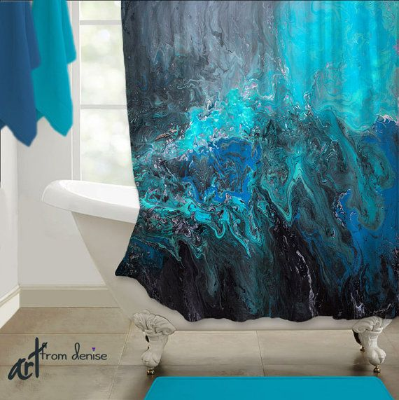 Gray Aqua Black And Blue Shower Curtain Modern Abstract Fabric Shower Stall Decor In Master Or Guest Bath